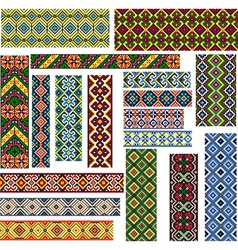 Set of Seamless Patterns for Embroidery Stitch vector image vector image