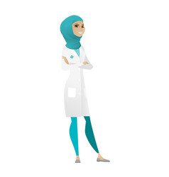 Young muslim confident doctor with folded arms vector