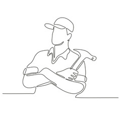 builder carpenter continuous line vector image vector image