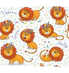 Funny lions seamless pattern with white vector image vector image