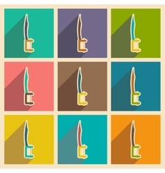 Icons of dental instruments in flat style vector