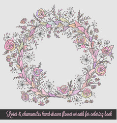 laurel wreath frame with roses vector image vector image