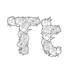 letter t made of flowers vector image vector image