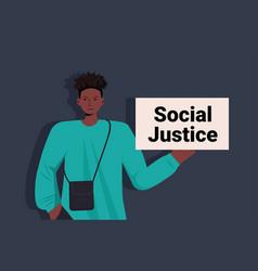 African american man activist holding stop racism vector