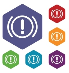 Alert hexagon icon set vector image