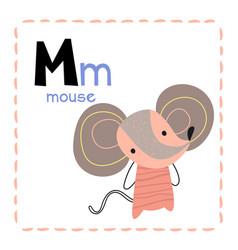 Alphabet letter m for mouse for kids vector