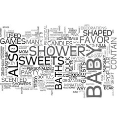 Baby shower favors text word cloud concept vector