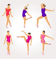 Ballet dancer pose collection vector
