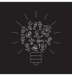 black bulb creative lines symbol ideas object vector image