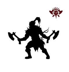 black silhouette of orc with axe vector image