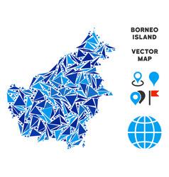 Blue triangle borneo island map vector
