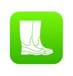 boots icon digital green vector image