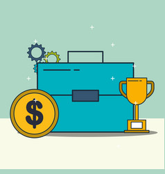 business briefcase trophy and money coin vector image