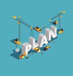 Business plan creation 3d isometric concept vector