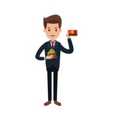businessman character holding wallet credit card vector image