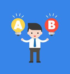businessman stand between light bulb idea vector image