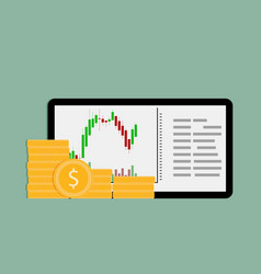 buy and sell on financial exchange on tablet vector image