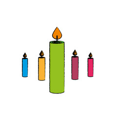 Candles celebration isolated icon vector