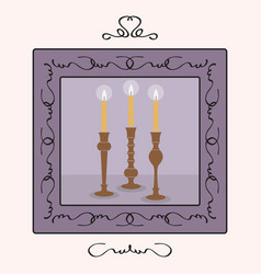 Candlesticks holders set with lit up candles frame vector