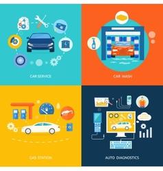 Car service wash gas station auto diagnostics vector