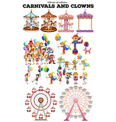 Carnivals objects and clowns vector