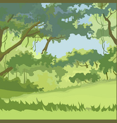 Cartoon background green deciduous forest with vector