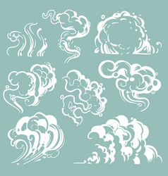 Cartoon white smoke and dust clouds comic vector
