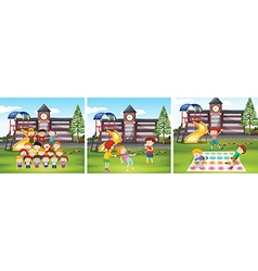 Children playing games at school ground vector image