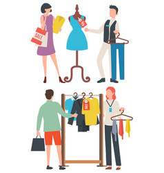 Choosing clothes people shopping retail vector
