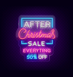 christmas sales neon sign advertising bright vector image