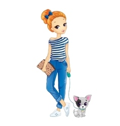 City Redhair Girl Walking With Dog vector image