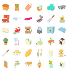 Comfortable home icons set cartoon style vector