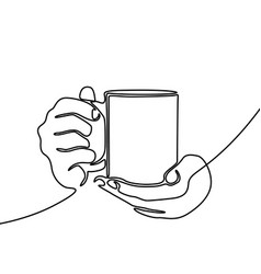 continuous line drawing hand holding mug with tea vector image