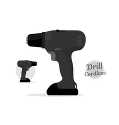 cordless drill black style power tool vector image