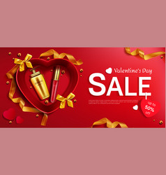 cosmetics valentine day sale red background banner vector image