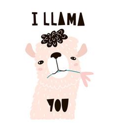 Cute cartoon llama with in flower childish alpaka vector