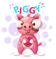 cute pig characters - cartoon vector image