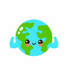 cute strong earth planet show muscle character vector image