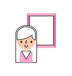 Cute woman avatar with picture vector