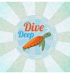 Deep diving ocean turtle retro background vector