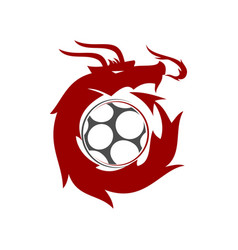 Dragon soccer logo design mascot template isolated vector