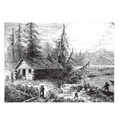 Early settlers vintage vector