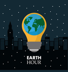earth hour in the light bulb scene night town vector image