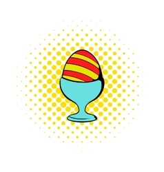 Easter egg on a stand icon comics style vector image