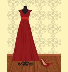 Elegant red dress on mannequin vector
