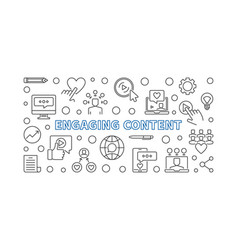 Engaging content concept outline horizontal vector