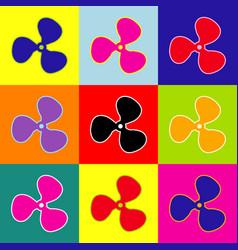 fan sign pop-art style colorful icons set vector image
