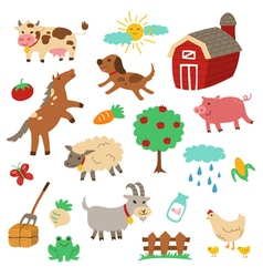 Farm Animal cartoon set vector