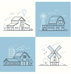 farm life - set of line design style vector image