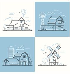 Farm life - set of line design style vector